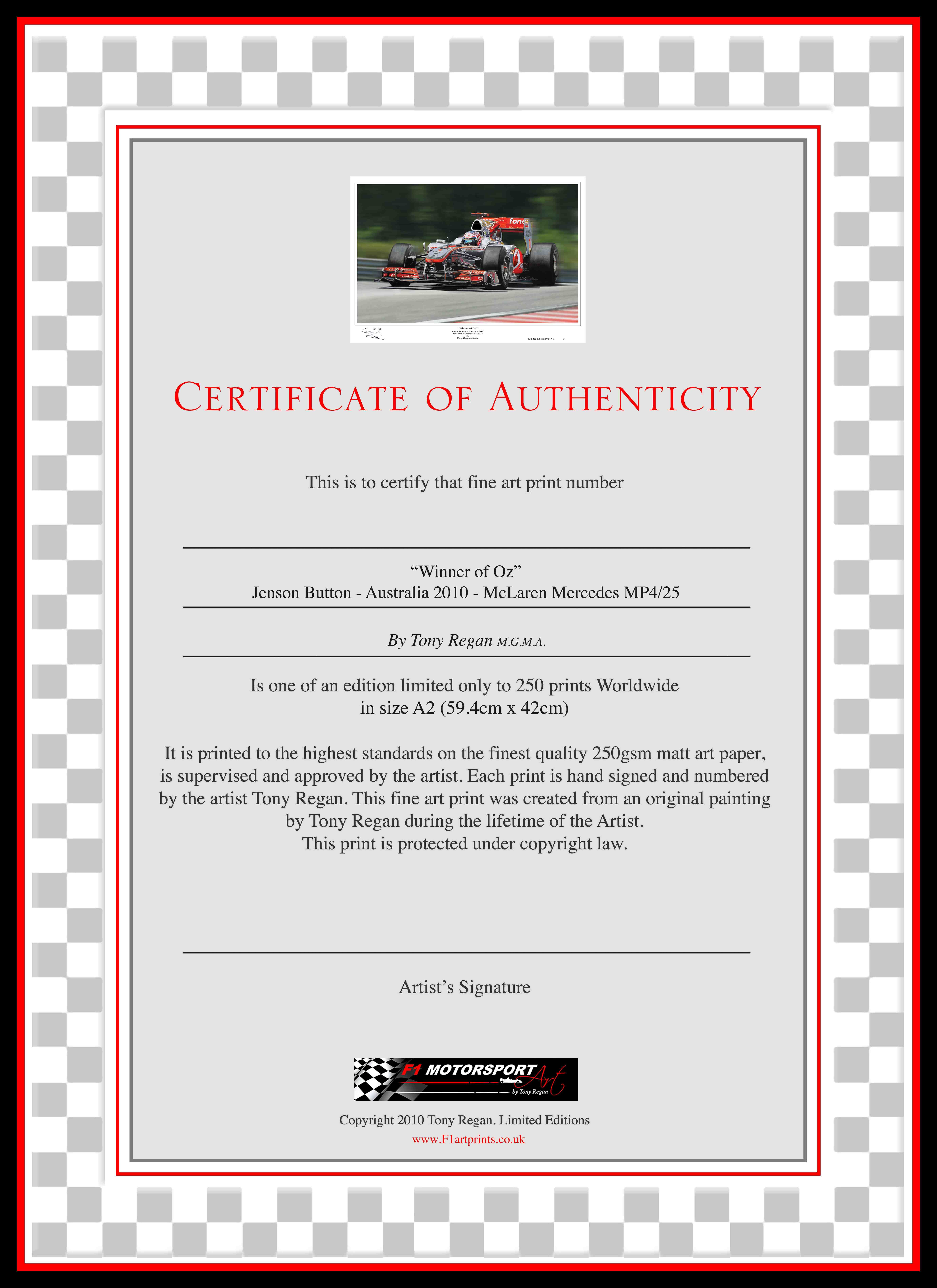 Jenson Button McLaren Winner of Oz Art Print COA
