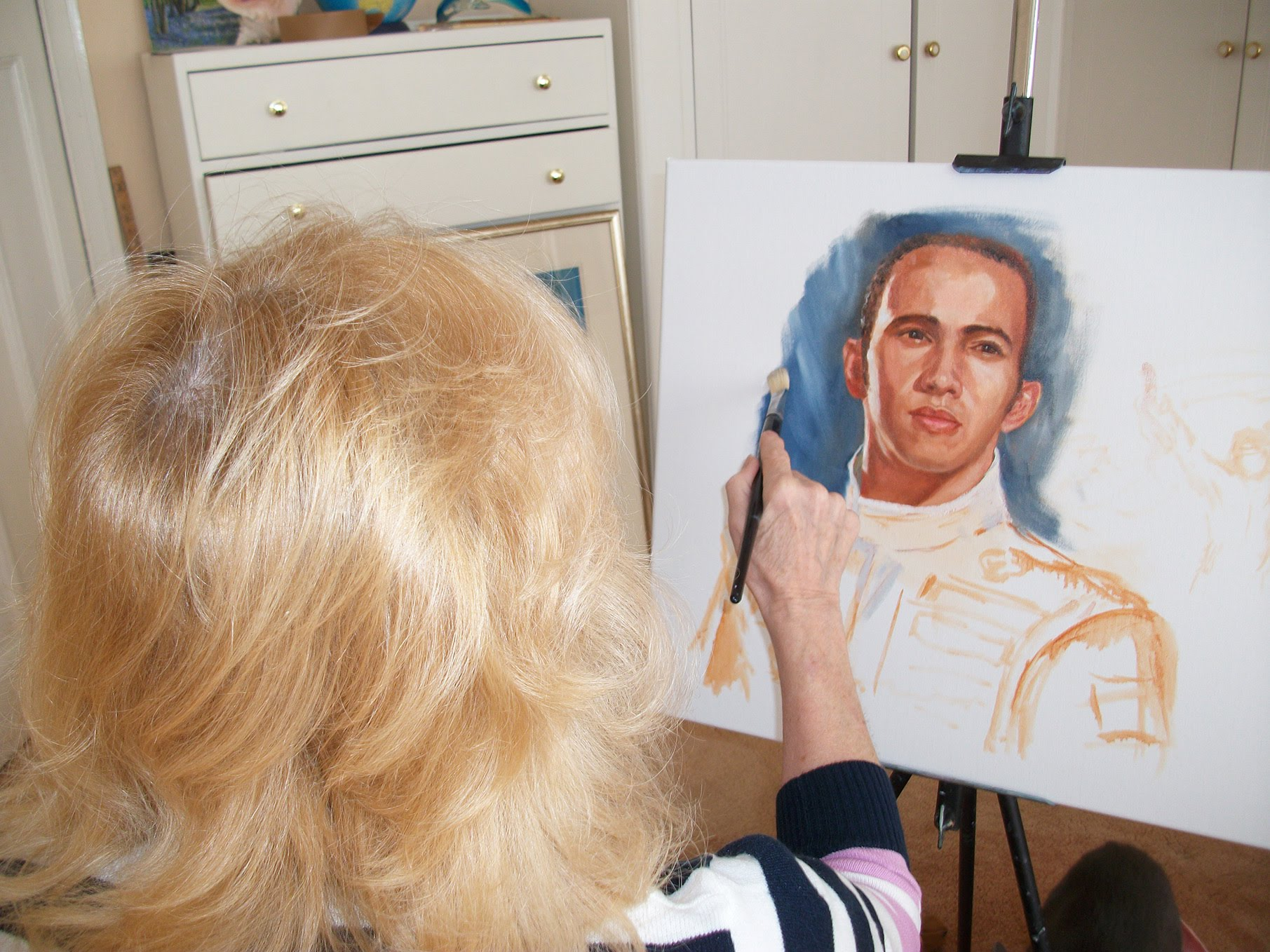 Joy Regan painting Lewis Hamilton original portrait