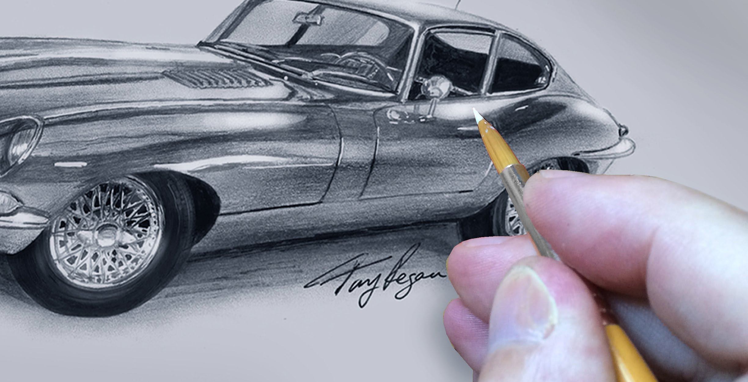 E-Type Jaguar Drawing Hand Finishing