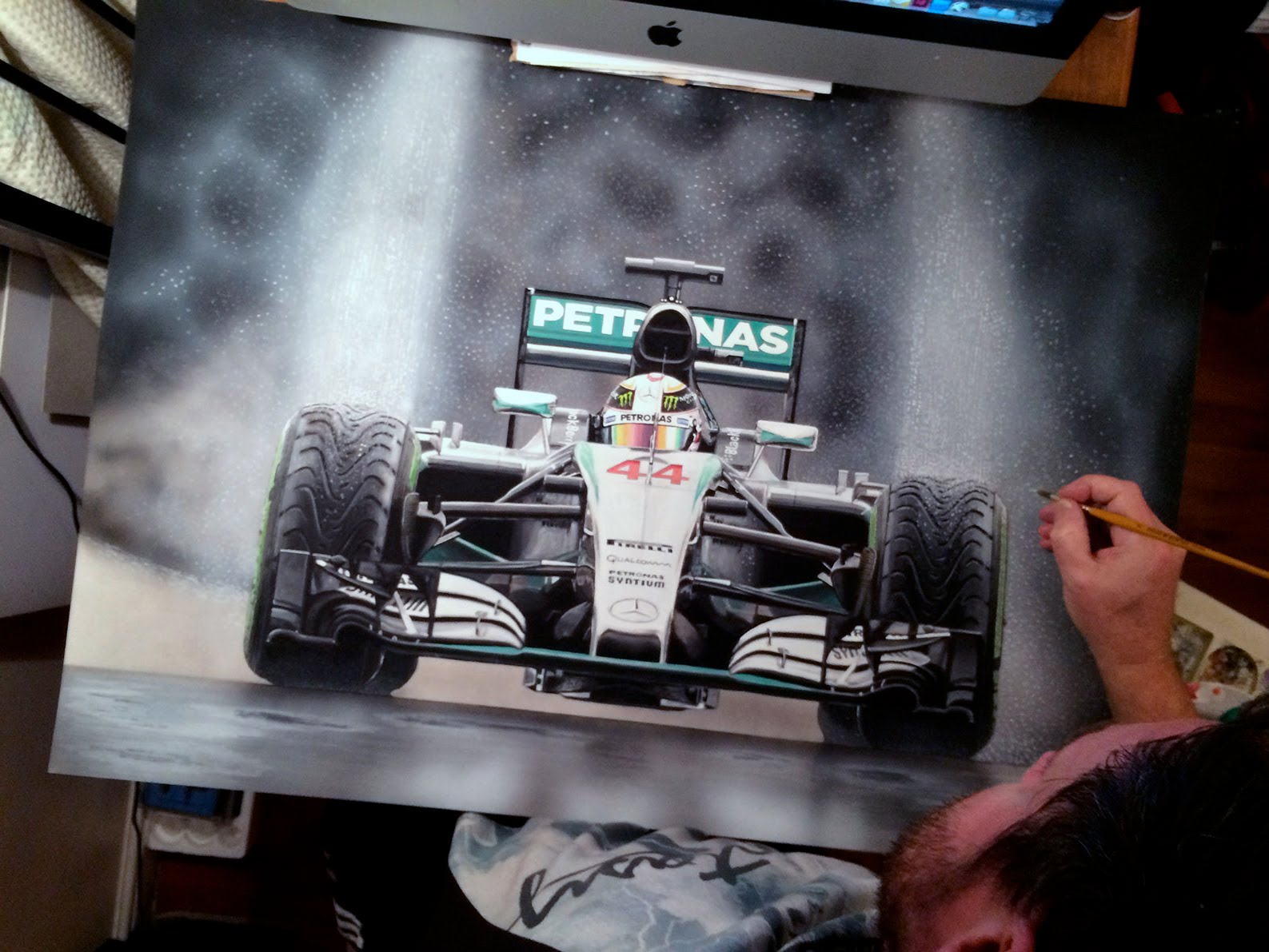 Tony Regan painting original Lewis Hamilton Mercedes 2015
