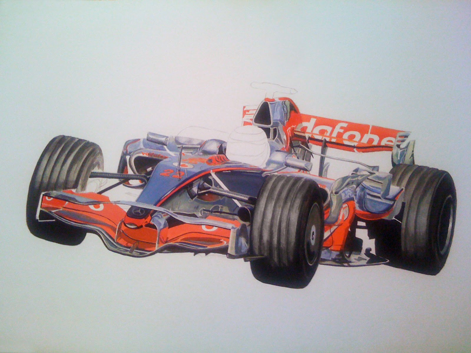 Tony Regan painting Lewis Hamilton MP4-23 2008