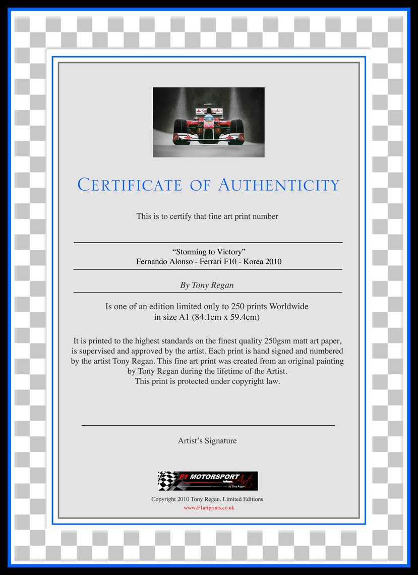 cerificate-of-authentication-Fernando-Alonso-Ferrari