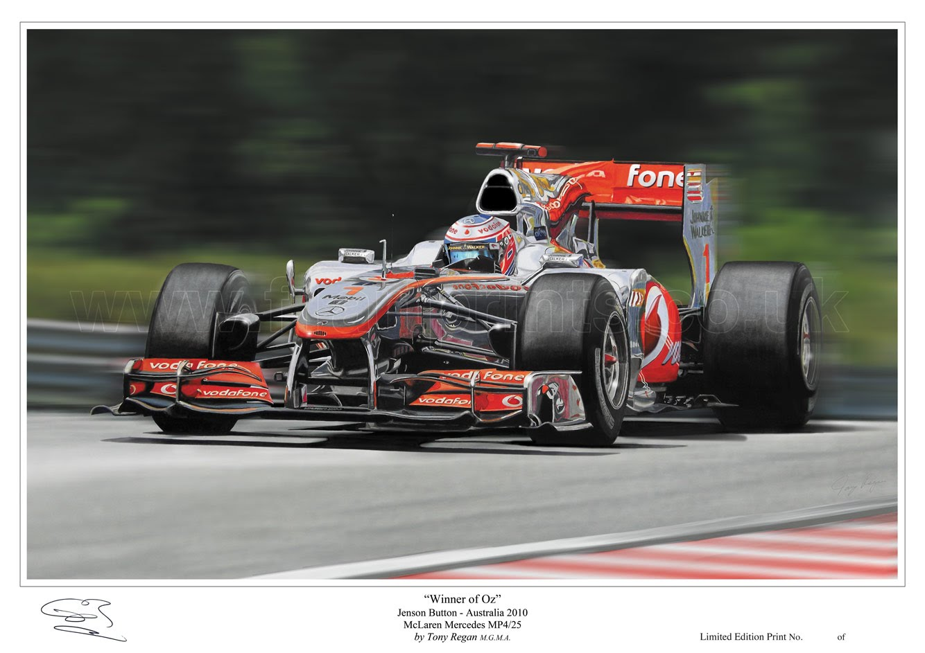 "Jenson Button ""Winner of Oz"" - F1 Motorsport Art Paintings ..."