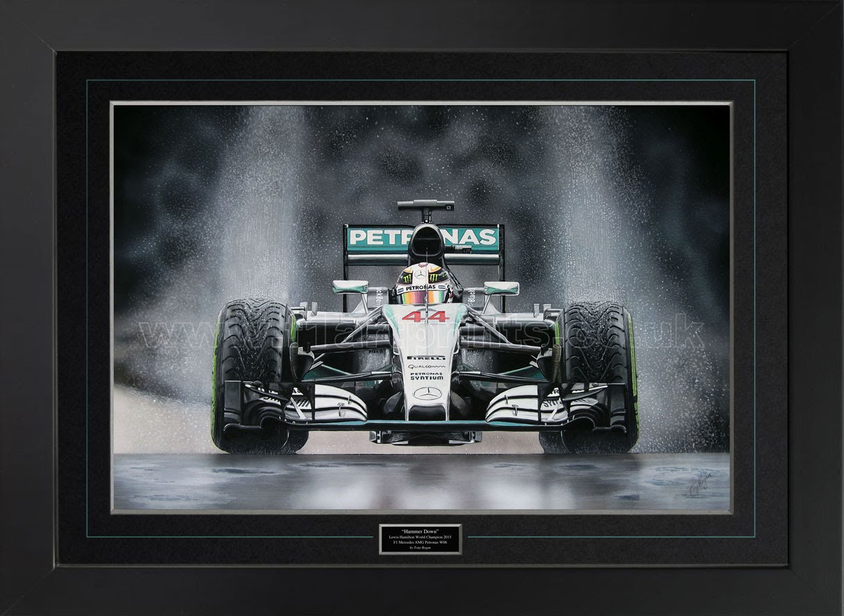 Lewis-Hamilton-'Hammer-Down'-2015-original-painting(Framed)