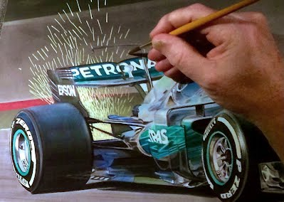 Tony Regan painting original Lewis Hamilton Mercedes 2017