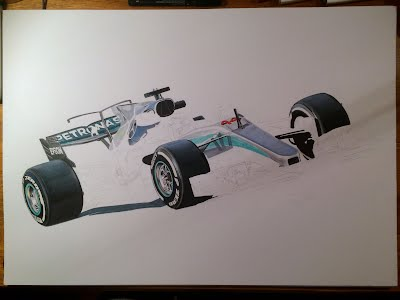 Tony Regan painting original Lewis Hamilton 2017